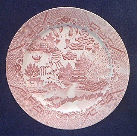 RED OR PINK WILLOW DINNER PLATE ~MADE IN JAPAN~UNUSUAL COLOR