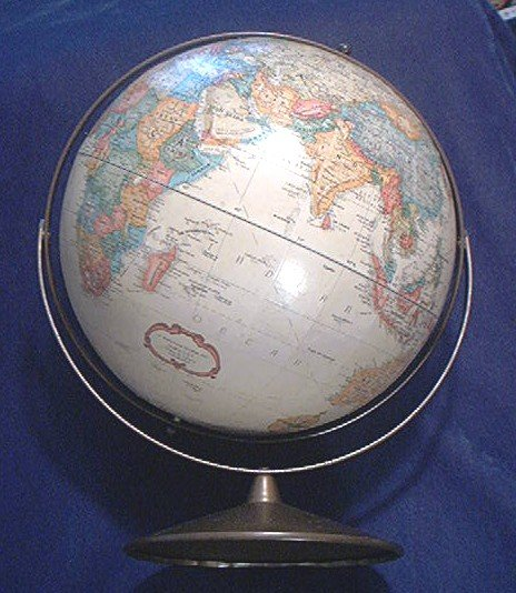 VINTAGE REPLOGLE GLOBE ~ 12 INCH WORLD CLASSIC~ RAISED FEATURES~NICE
