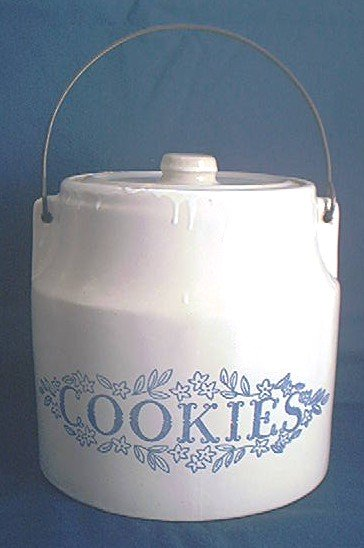MONMOUTH~WESTERN STONEWARE~COOKIE JAR~WHITE DRIP GLAZE~COOKIES~HTF