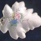 OCCUPIED JAPAN PORCELAIN LEAF DISH ~SHABBY ROSE- GOLD- HAND PTD