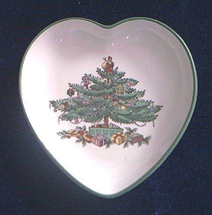 SPODE CHRISTMAS TREE TRINKET DISH ~ ENGLAND- HEART SHAPE