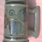 LOVELY MEXICAN POTTERY~MUG~STEIN~LARGE SIZE~REDDISH FLOWER~BLUE LEAVES