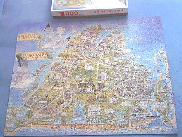 MARTHA'S VINEYARD~JIGSAW PUZZLE~WHITE MT. GRAPHICS~HAS ALL 1000 PCS~MAP OF ISLAND
