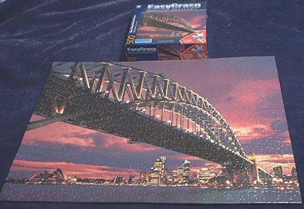 EZ GRASP~JIGSAW PUZZLE~CITYSCAPE AT DUSK, SYDNEY AUSTRALIA~HAS ALL 500 BIG PIECES