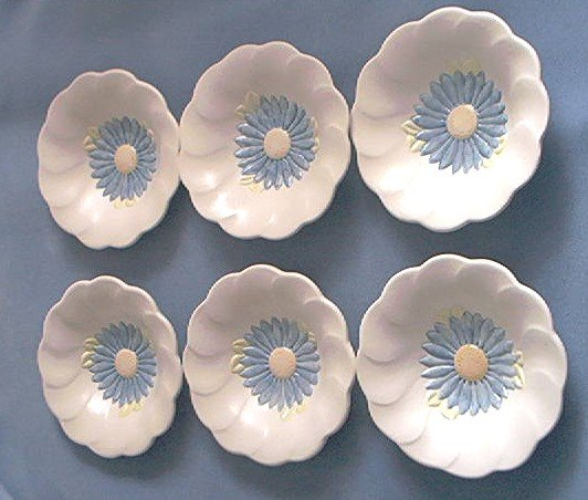 PFALTZGRAFF~BLUE AND WHITE FLOWER BOWL SET OF 6 ~ GORGEOUS ASTER-LIKE ~ COTTAGE