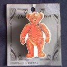 PEACHY KEEN TEDDY BEAR PIN~BROWN AND WHITE~HANDMADE IN USA~CUTE