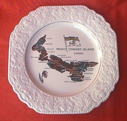 PRINCE EDWARD ISLAND SOUVENIR PLATE~MAP~LORD NELSON POTTERY~ENGLAND~TARTAN
