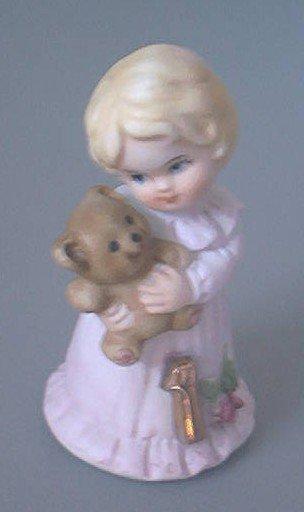ENESCO GROWING UP BIRTHDAY GIRL~AGE 1~1981 PINK DRESS~TEDDY BEAR
