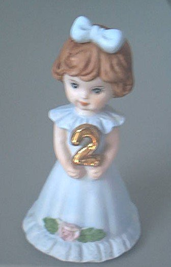 ENESCO GROWING UP BIRTHDAY GIRL~AGE 2~1982~BLUE DRESS~BOW IN HAIR