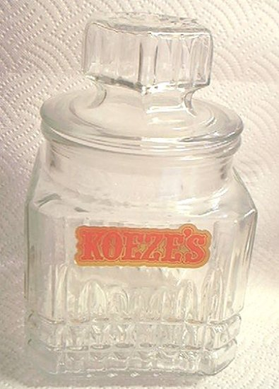 KOEZE'S CANDY JAR~GLASS ADVERTISING~GREAT FOR KITCHEN DECOR