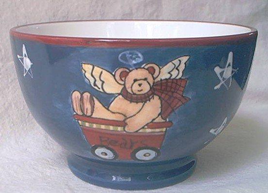 SUSAN WINGET ICE CREAM BOWL~TEDDY BEAR~ANGEL~WHITE/BLUE/RED