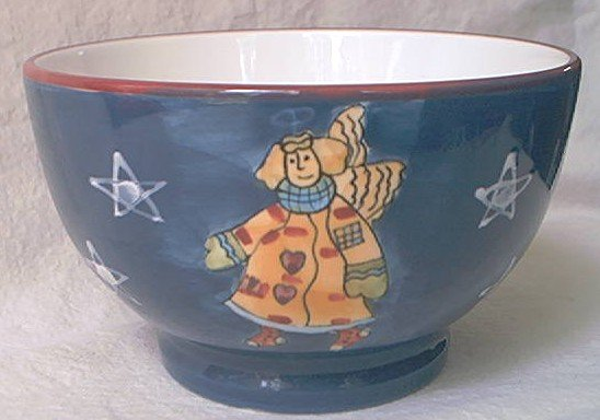SUSAN WINGET~ICE CREAM BOWL~TEDDY BEAR ANGEL YELLOW COAT~BLUE/WHITE/RED