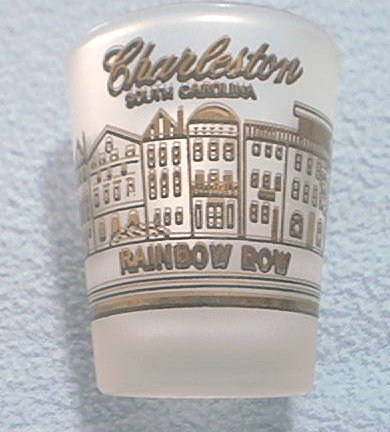 SHOT GLASS~CHARLESTON, S.C.~RAINBOW ROW~FROSTED