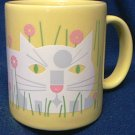 EDIE HARPER DESIGNER CAT MUG~YELLOW WITH KITTY CAT 1987