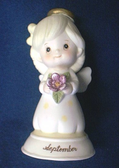 PRETTY GEO. Z. LEFTON SEPTEMBER BIRTHDAY ANGEL BELL~PURPLE FLOWER 1983