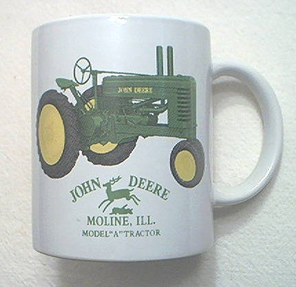 JOHN DEERE TRACTOR MUG~MODEL A TRACTOR~GREEN TRACTOR~ADVERTISING