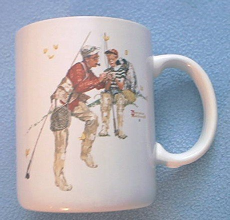 NORMAN ROCKWELL MUG ~ TROUT DINNER~c.1987~FISHING~FATHER SON DOG