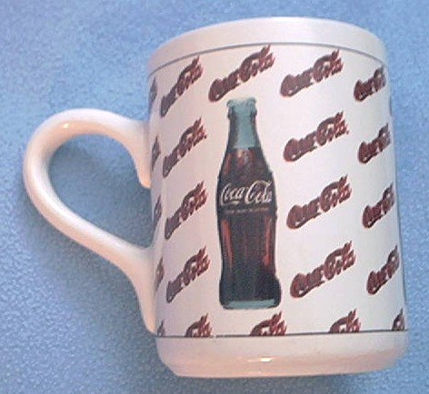 COCA-COLA ADVERTISING MUG ~ BOTTLE ~LOGO~1997