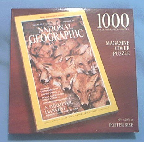 NATIONAL GEOGRAPHIC SOCIETY MAGAZINE COVER PUZZLE ~N. AMER. RED FOXES~POSTER SIZE~1000 PC--UNOPENED