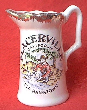 PLACERVILLE CALIFORNIA SOUVENIR CREAMER PITCHER~OLD HANGTOWN~MINER ~GOLD