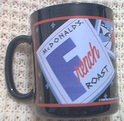 McDONALD'S FRENCH ROAST MUG ~EIFFEL TOWER~FRENCH CAFE~BLACK ~ADVERTISING