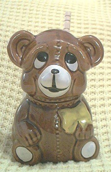 TEDDY BEAR HONEY POT JAR ~ADVERTISING~1982~ADORABLE
