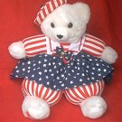 FOURTH OF JULY AMERICANA TEDDY BEAR~ 1994~RED, WHITE, BLUE