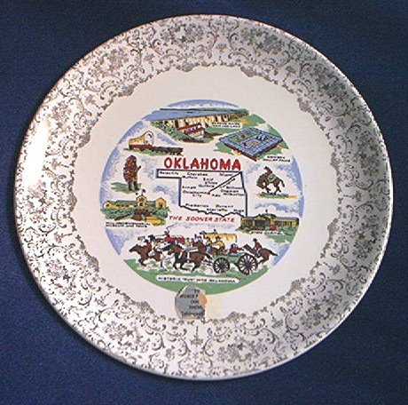 OKLAHOMA STATE SOUVENIR COMMEMORATIVE PLATE ~SOONER STATE~ c. 1960'S~GOLD EDGE