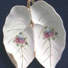 VINTAGE FLORAL PORCELAIN LEAF DISH~JAPAN~GOLD TRIM~PROBABLY OCCP PERIOD~PRETTY~ROMANTIC