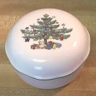 NIKKO HAPPY HOLIDAYS CHRISTMAS TREE TRINKET BON BON BOX  ~LID~JAPAN~PRETTY