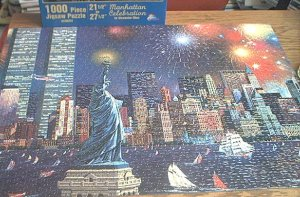 SUNSOUT ALEXANDER CHEN JIGSAW PUZZLE~MANHATTAN CELEBRATION~has all 1000 pcs~Twin Towers Fireworks