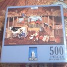 EMPIRE 500 PC JIGSAW PUZZLE ~GRANDPA ON THE FARM~BOB BATES~COMPLETE~COWS~CHICKENS