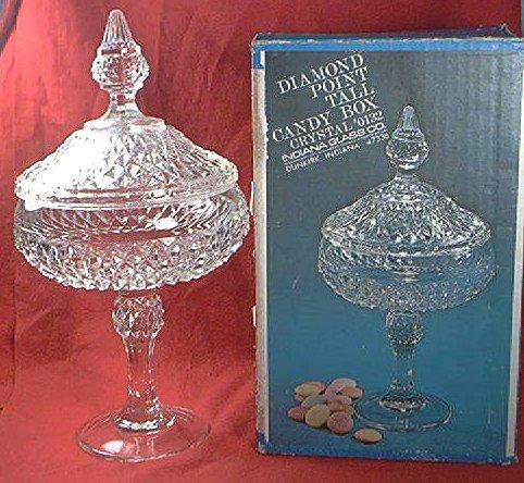 DIAMOND POINT TALL CANDY BOX DISH ~INDIANA GLASS~CRYSTAL~0132~70's BOX