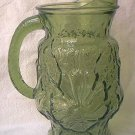 VINTAGE TALL GREEN GLASS ANCHOR HOCKING PITCHER ~FLOWERS~2 QT