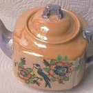 JAPANESE LUSTREWARE TEAPOT ~GOLD AND BLUE~BLUEBIRD~C.1920'S-30'S~HAND PAINTED Gatsby Era