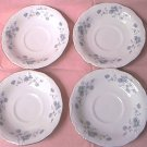 4 JOHANN HAVILAND SAUCERS ~BLUE GARLAND~BLUE FLOWERS~PLATINUM~BAVARIA