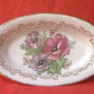 VINTAGE OVAL SERVING DISH ~POPPIES~ GOLD TRIM~LOVELY