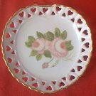 VINTAGE HEART SHAPED RIBBON DISH ~HAND PAINTED PINK ROSES~GOLD TRIM