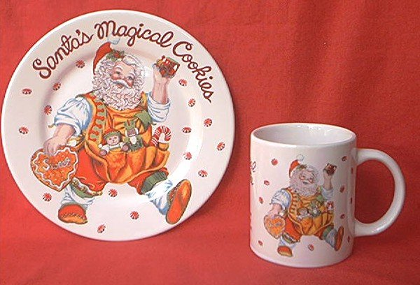 SAKURA SANTA'S MAGICAL COOKIES PLATE AND MUG SET ~CHERYL ANN JOHNSON~CHRISTMAS