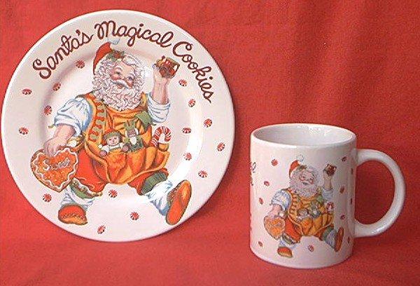SAKURA SANTA'S MAGICAL COOKIES PLATE AND MUG SET ~CHERYL ANN JOHNSON~CHRISTMAS