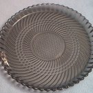 GLASS TRAY ~SMOKY GREY~ROUND~CANADA ~SPIRAL DESIGN~ pretty server~10 inch