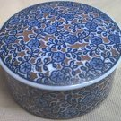 BLUE FLORAL ROUND PORCELAIN TRINKET BOX