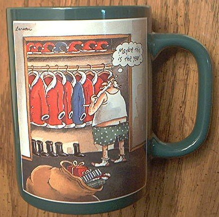 THE FAR SIDE MUG ~GARY LARSON~1989~MAYBE THIS IS THE YEAR~SANTA ...