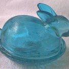 RABBIT BUNNY AQUA BLUE GLASS COVERED DISH - BASKETWEAVE