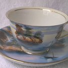 VINTAGE LILY CHINA HAND PAINTED CUP AND SAUCER ~MADE IN JAPAN~GOLD TRIM~BOAT
