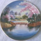 VINTAGE LILY CHINA HAND PAINTED SAUCER ~MADE IN JAPAN~GOLD TRIM~BRIDGE~ CHERRY BLOSSOMS