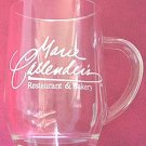 MARIE CALLENDERS ADVERTISING GLASS MUG ~CLEAR~WHITE LETTERING