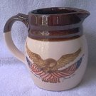 McCOY POTTERY WOODEN EAGLE PITCHER JUG ~AMER FLAG~BROWN/CREAM~SPIRIT OF 76~bicentennial