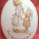 "HOLLY HOBBIE PORCELAIN PLAQUE ~1973~ ""LOVE IS THE LITTLE THINGS YOU DO""~JAPAN"
