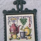VINTAGE CAST IRON TRIVET WITH TILE ~JAPAN~KITCHEN SCENE~APPLE~COFFEE POT